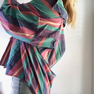 Vintage Striped Button Up Blouse Tunic